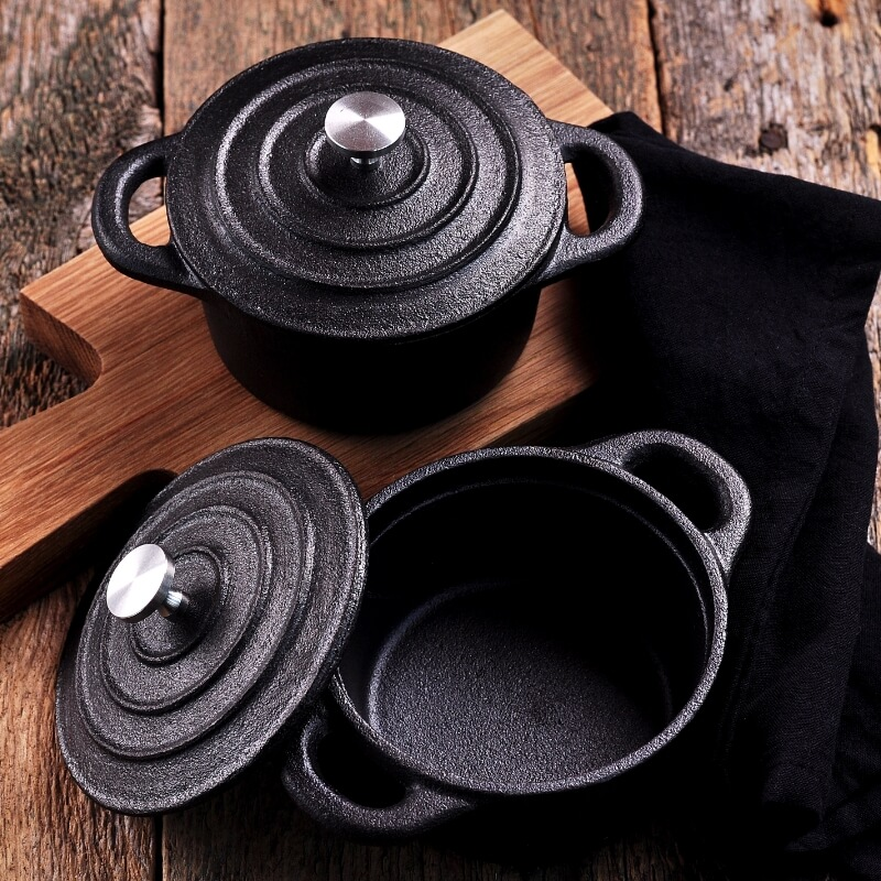 Some cast iron skillets and pots